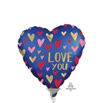 Navy & Gold Love Heart Shape Foil Balloon
