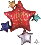35 inch Happy Birthday Satin Star Cluster