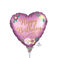 Birthday Flowers Heart Shape Balloon
