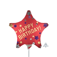 9 inch Red Satin - Star Shape Birthday Balloon