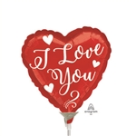 White Love Script Balloon