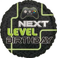 Level Up Birthday Round Foil Balloon