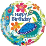 Happy Birthday Peacock Balloon
