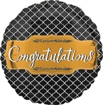VLP Gold Black Congrats Foil Balloon