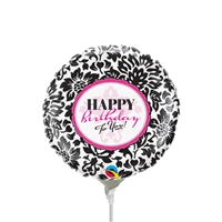 9in Happy Birthday Elegant Damask - Foil Balloon