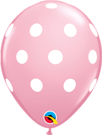 11 inch Qualatex Big Polka Dots PINK with WHITE Dots