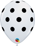 11 inch Qualatex BIG Polka Dots White with Black