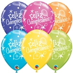 11 inch Qualatex FELIZ CUMPLEANOS Balloons Tropical Assortment