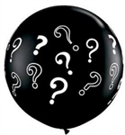 3 foot Qualatex Round Question Mark-A-Round BLACK