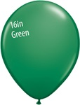 16 inch Qualatex Standard GREEN Latex Balloon