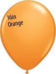 16 inch Qualatex Standard ORANGE Latex Balloon