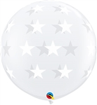 Big Stars on Clear Latex Balloon