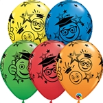 11in Qualatex Graduation Smileys- All-Over Print Assortment