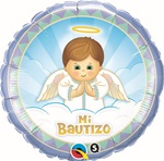 18 inch Mi Bautizo Angel BOY Foil Balloon