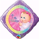 18 inch Mi Bautizo Prayer GIRL Diamond Shape Foil Balloon