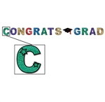 8 1/2in x 10ft Glittered Congrats Grad Streamer, Price Per EACH