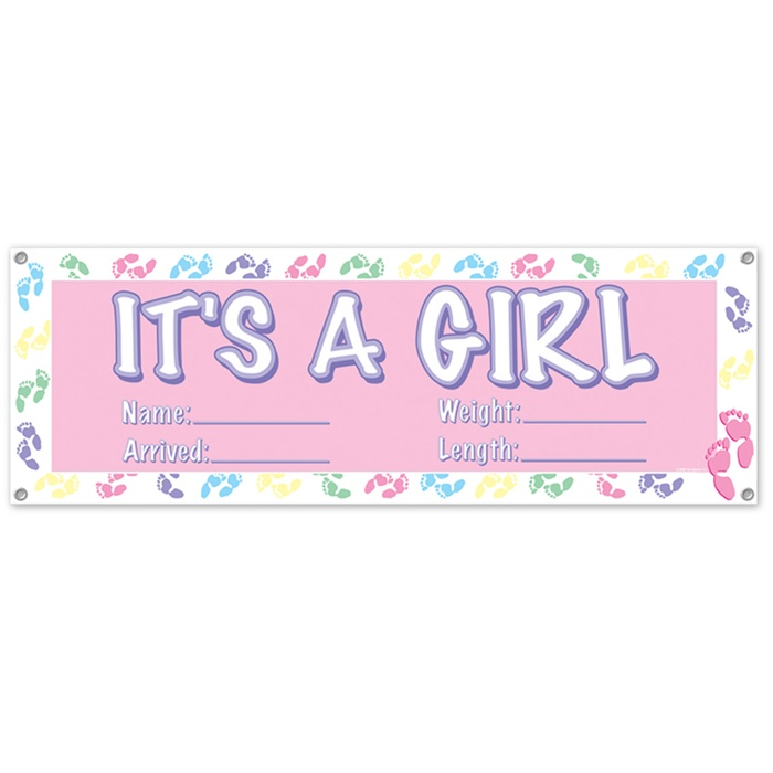 it s a girl banner 63 inch x 21 inch