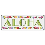 21in x 63in WHITE ALOHA Banner, Price Per EACH