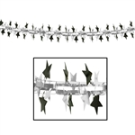 12 inch x 9 foot BLACK & SILVER Metallic Star Garland