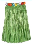 GREEN Adult Artificial Grass Hula Skirt with Flower