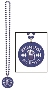 33in BLUE Oktoberfest Beads with Medallion, Price Per EACH