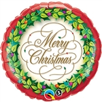 18 inch Christmas Wreath & Berries Foil Balloon