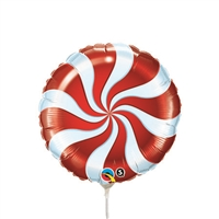 9 inch Candy Swirl RED Round Foil