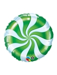 9 inch Candy Swirl GREEN Round Foil