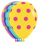 11 inch Betallatex Round Multi Color POLKA DOTS