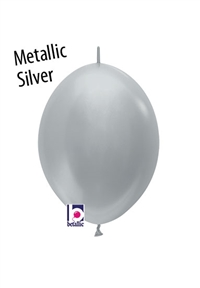 6 inch Link-O-Loon METALLIC SILVER, Price Per Bag of 50