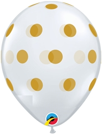11 inch Qualatex BIG Polka Dots Clear with GOLD