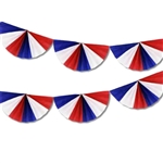 9 ft Fan Garland RED WHITE & BLUE, Price Per EACH