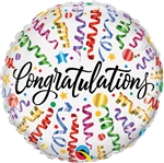 18 inch Congratulations Streamers Round Foil Balloon