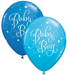 11 inch Qualatex Round BABY BOY Stars