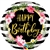 18 inch Happy Birthday Hibiscus Stripes  foil balloon