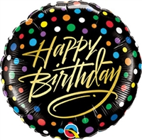 18 inch Happy Birthday Gold Script & Dots foil balloon