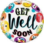 GET WELL Soon Smileys Foil Balloon