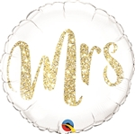 18 inch Mrs. Glitter GOLD Foil Balloon