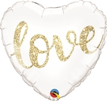 18 inch Love Glitter GOLD Foil Balloon