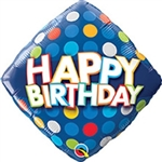 18 inch Happy Birthday Blue & Colorful Dots foil balloon