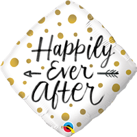 18 inch Happily Ever After Gold Dots Foil Balloon