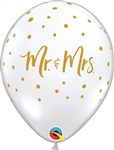 11 inch Qualatex Mr. & Mrs. Gold on DIAMOND CLEAR with Gold Dots Latex Balloon