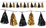 9 3/4 inch x 8 foot BLACK & GOLD Metallic Tassel Garland