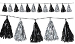9 3/4 inch x 8 foot BLACK & SILVER Metallic Tassel Garland