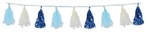 9 3/4 inch x 8 foot BLUE, WHITE, & Light Blue Metallic and Tissue Tassel Garland