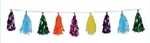 9 3/4 inch x 8 foot Multicolor Tissue & Metallic Tassel Garland