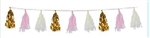 9 3/4 inch x 8 foot Gold Metallic, White Tissue, & Pink Tissue Tassel Garland