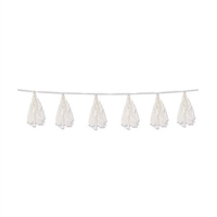 WHITE Tissue Tassel Garland