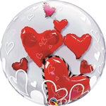 24in DOUBLE BUBBLE Lovely Floating Hearts