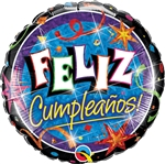 18 inch Feliz Cumpleanos Estrellas Brilliantes - Birthday Brilliant Stars Holographic Foil Balloon